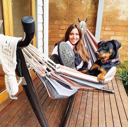 Relaxing in the siesta hammock